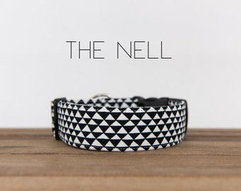 "Modern Black & White Classic Geometric Dog Collar ""The Nell"""