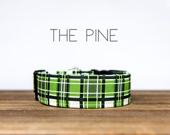 "Graphic Green Plaid Dog Collar ""The Pine"""