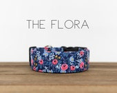 Vintage Inspired Blue Pink Floral Dog Collar quot The Flora quot
