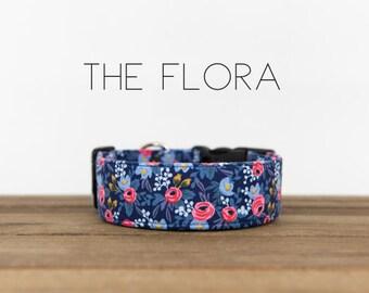 """Vintage Inspired Blue & Pink Floral Dog Collar """"The Flora"""""""