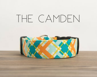 "Orange and Turquoise Modern Dapper Plaid Dog Collar ""The Camden"""