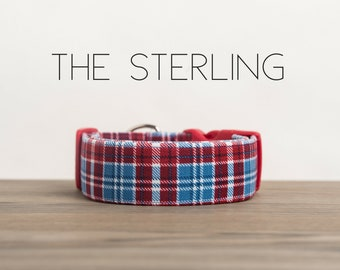 "Modern Blue & Red Dapper Plaid Dog Collar ""The Sterling"""