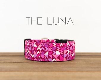 "Pink, Magenta, Lavender and White Modern Geometric Dog Collar ""The Luna"""