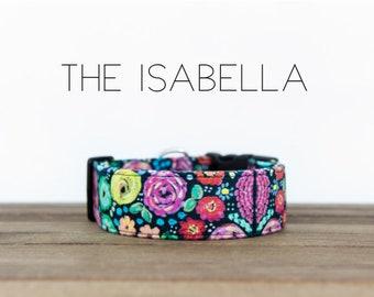 "Multicolor Modern Dark Navy Floral Dog Collar ""The Isabella"""