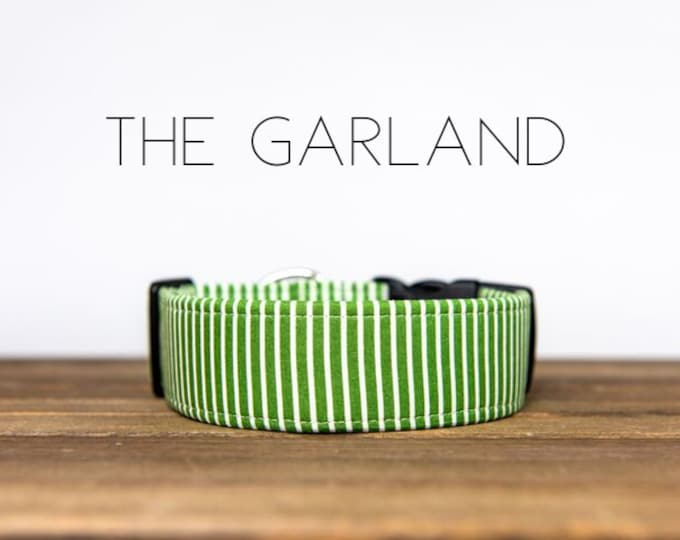 "Featured listing image: Green & Cream Striped Dog Collar ""The Garland"""