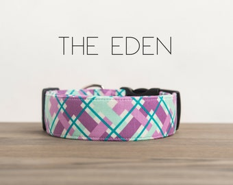 "Purple, Turquoise & Ice Frappe  Modern Girly Plaid Dog Collar ""The Eden"""