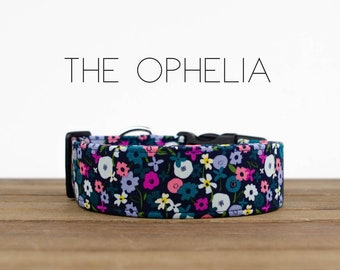 """Navy, Pink, Teal, Periwinkle Colorful Stylish Floral Dog Collar """"The Ophelia"""""""