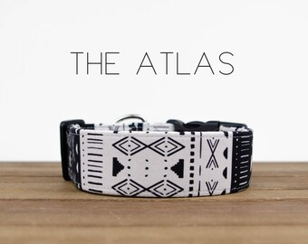 """Black and White Aztec Inspired Dog Collar """"The Atlas"""""""