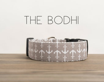 "Nautical Fun Grey & White Anchor Dog Collar ""The Bohdi"""