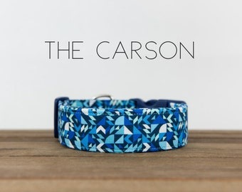 "Blue and White Modern Geometric Dog Collar ""The Carson"""