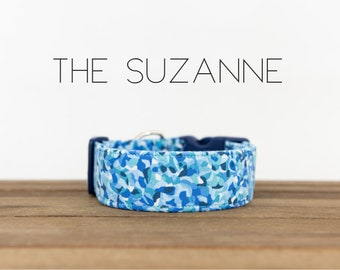 """Blue and White Watercolor Abstract Dog Collar """"The Suzanne"""""""