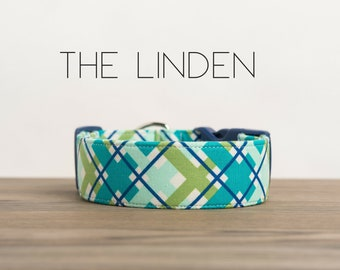 "Turquoise, Navy and Green Modern Dapper Plaid Dog Collar ""The Linden"""