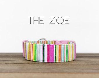 "Multicolor Whimsical Watercolor Striped Dog Collar ""The Zoe"""