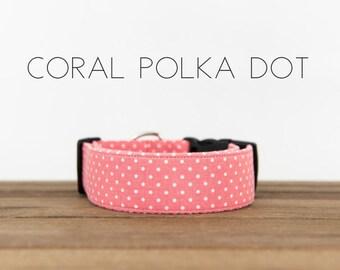 """Modern Classic Fashion Inspired Girly Dog Collar """"Coral Polka Dot"""""""