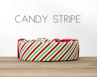 Holiday Green and Red Candy Stripe Dog Collar