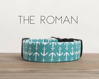 "Aqua & White Nautical Anchor Dog Collar ""The Roman"""