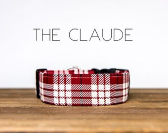 "Red and Cream Plaid Dog Collar ""The Claude"""