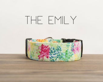 """Celery Green, Light Pink, & Blue Bright Vintage Inspired Floral Dog Collar """"The Emily"""""""