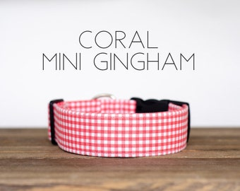 Coral Mini Gingham Dog Collar