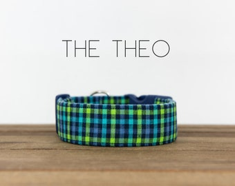 "Green, Blue and Turquoise Modern Checked Plaid Dog Collar ""The Theo"""