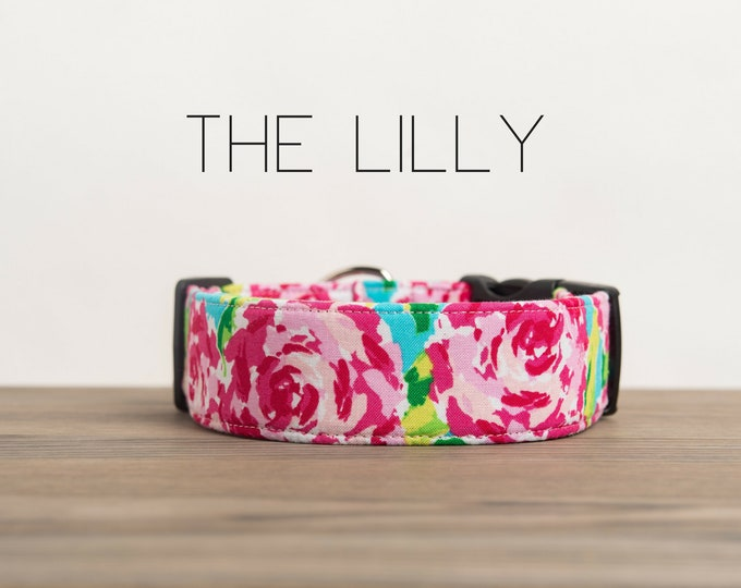 "Featured listing image: Dog Collar, Hot Pink, Turquoise & Lime Vintage Floral Dog Collar ""The Lilly"""