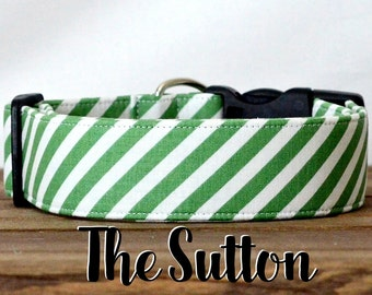 "Preppy Green Diagonal Striped Dog Collar ""The Sutton"""