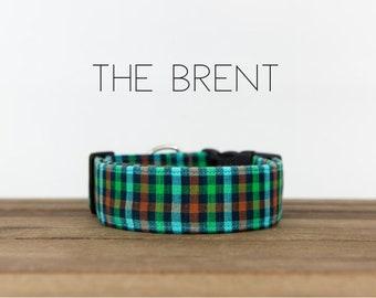 "Blue, Green and Orange Dapper Plaid Dog Collar ""The Brent"""