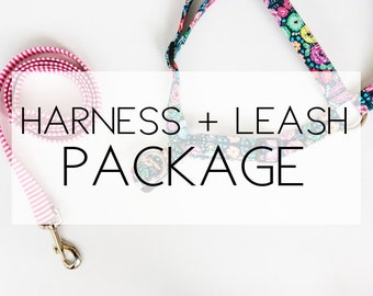 Dog Harness + Leash Package -please note the pattern(s) of your choice at checkout