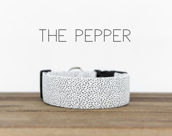 """Modern Black and White Dashed Unisex Dog Collar """"The Pepper"""""""