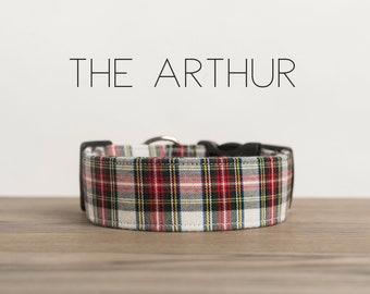 "Red, Green, White & Yellow Dapper Plaid Dog Collar ""The Arthur"""