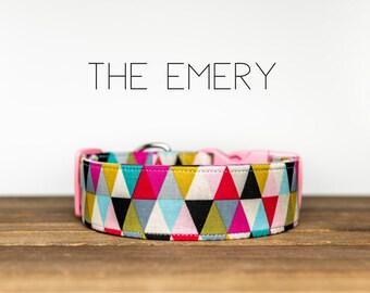 "Pink, Black, Mustard, Turquoise Triangle  Modern Geometric Dog Collar ""The Emery"""