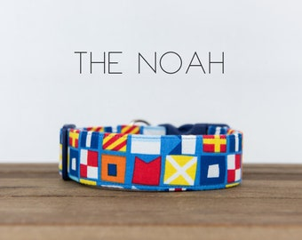 "Modern Colorful Boat Flag Inspired Dog Collar ""The Noah"""
