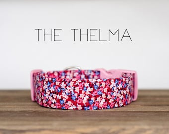 "Modern Crimson, Pink & Blue Vintage Floral Inspired Dog Collar ""The Thelma"""