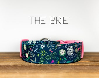 """Vintage Floral Navy, Pink, Green Girly Dog Collar """"The Brie"""""""