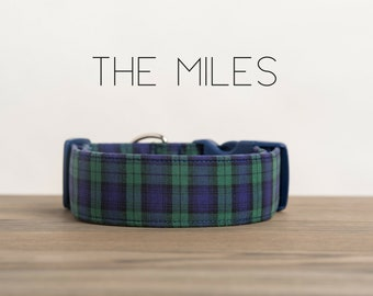 "Preppy Navy and Green Plaid Dog Collar ""The Miles"""