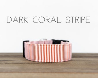 "Classic Coral Nautical Inspired Dog Collar ""Dark Coral Stripe"""