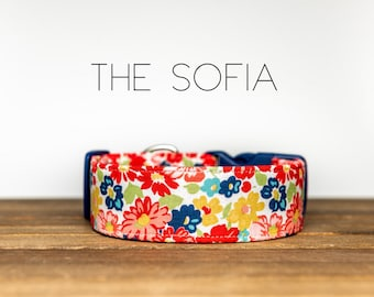 "Coral, Mustard, Navy Vintage Floral Flower Dog Collar ""The Sofia"""