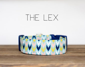 "Pink, Yellow & Navy Modern Arrow Geometric Dog Collar ""The Lex"""
