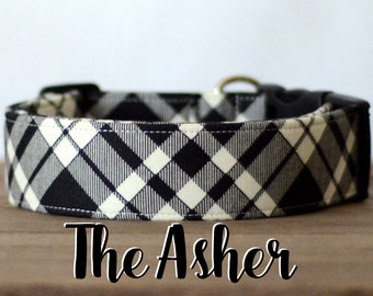 "Cream & Black Modern Dapper Plaid Dog Collar  ""The Asher"""