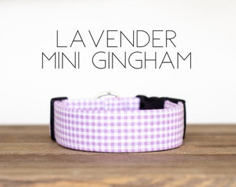 Lavender Mini Gingham Dog Collar
