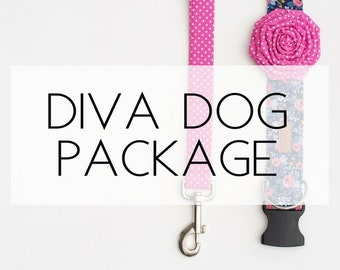 Diva Dog Package- includes dog collar, leash and flower attachment