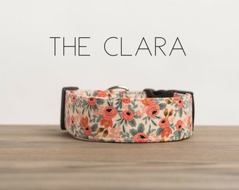 """Vintage Inspired Peach & Coral Floral Dog Collar """"The Clara"""""""