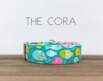 "Modern Turquoise Beach Inspired Colorful Fish Dog Collar ""The Cora"""