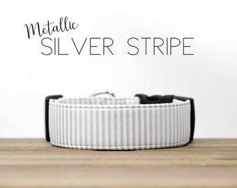 Holiday Metallic Silver Festive Dog Collar