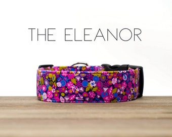 """Pink, Purple and Blue Modern Vintage Fall Floral Dog Collar """"The Eleanor"""""""