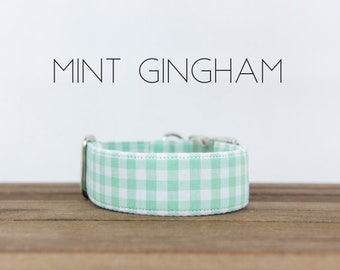 Mint Green and White Gingham Dog Collar