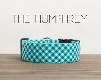 "Preppy Turquoise Blue Plaid Dog Collar  ""The Humphrey"""