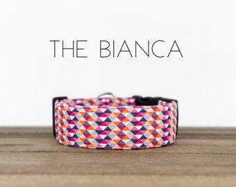 "Coral, Purple & Pink Modern Geometric Dog Collar ""The Bianca"""
