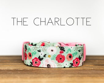 "Vintage Inspired Mint & Pink Floral Dog Collar ""The Charlotte"""