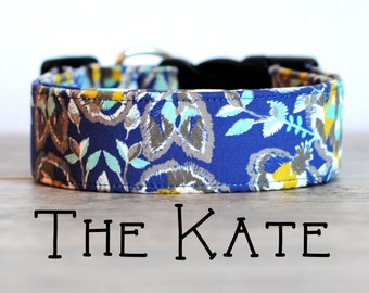 "Sophisticated Navy Grey & Mustard Vintage Inspired Dog Collar ""The Kate"""